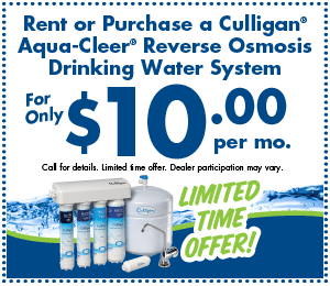 Rent or Purchase a Culligan Aqua-Cleer Reverse Osmosis Drinking Water System for only $10 per mo.